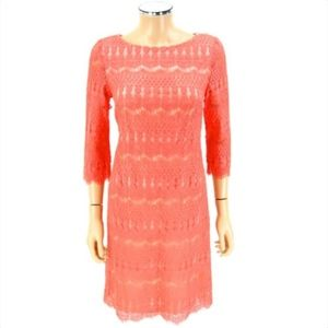 ELIZA J Sheath Dress Coral Sorbet Crochet Lace 6
